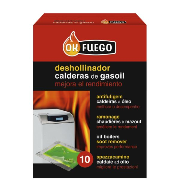 DESHOLLINADOR ESTUFA GAS-OIL LIQUIDO 10PZ OK FUEGO 5ML 50229