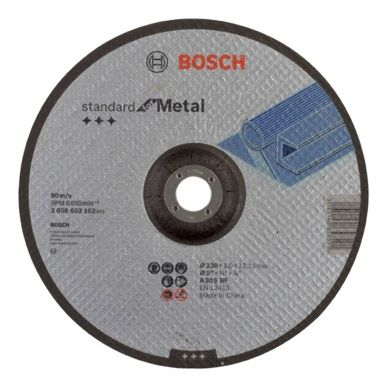 DISCO CORTE METAL CONCAVO 230X3X22,23MM BOSCH 2608603162